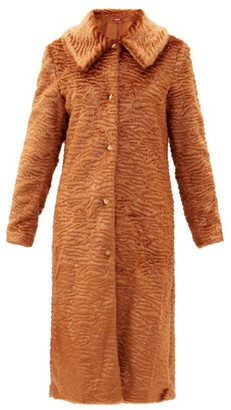 STAUD Frankie Oversized-collar Faux-fur Coat - Dark Beige