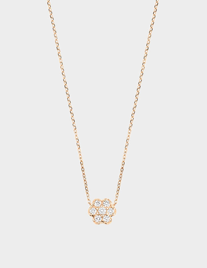 ginette_ny Mini Diamond Lotus 18-karat rose gold necklace