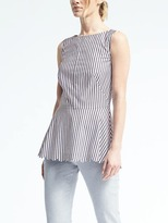 Banana Republic Stripe Scallop Peplum Crew Top