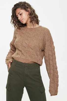 Forever 21 Cable Knit Drop-Sleeve Sweater