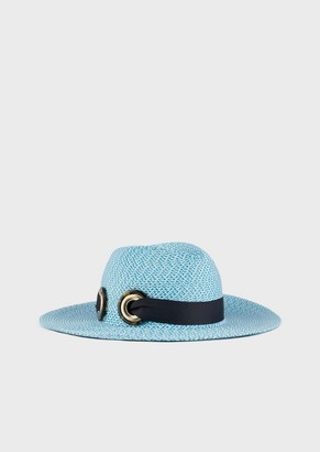 Giorgio Armani Woven Straw Hat Featuring A Ribbon With Logo
