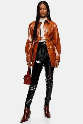 Topshop TALL Black Faux Leather Vinyl Pants