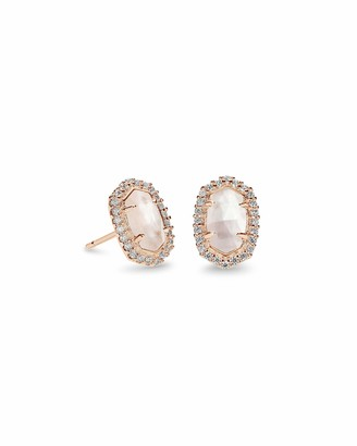Kendra Scott Cade Stud Earrings in Ivory CZ and Rose Gold Plated