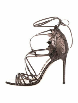 Marchesa Snakeskin Ankle Strap Sandals Brown