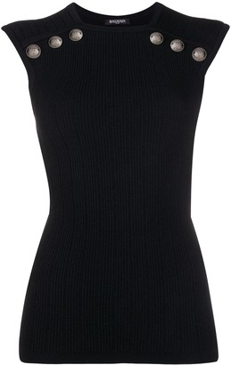 Balmain Embossed Buttons Ribbed Top