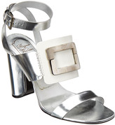 Roger Vivier Colorblock Metallic Leather Ankle-Strap Sandal