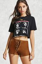 Forever 21 Crushed Velvet Lace-Up Shorts