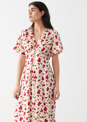 And other stories Deep V-Neck Midi Dress