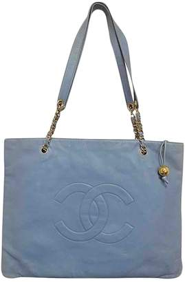 Chanel Petite Shopping Tote Blue Leather Handbags