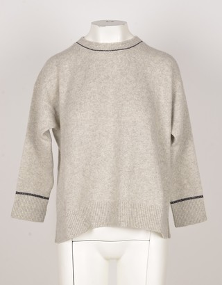 Bruno Manetti Light Gray Wool & Cashmere Blend Women's Sweater