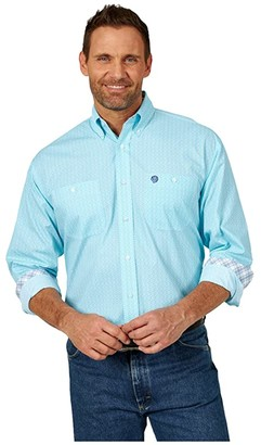 Wrangler George Strait Long Sleeve Two Pocket Print (Light Turquoise/White) Men's Long Sleeve Button Up