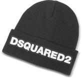 DSQUARED2 Signature Patch Black Wool Knit Hat