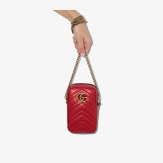 Gucci Red Marmont quilted leather cross body phone bag
