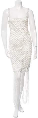 ADAM by Adam Lippes Jewel-Embellished Fringe-Trimmed Dress
