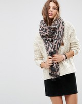 Asos Oversized Long Woven Scarf In Pink Leopard
