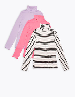 Marks and Spencer 3pk Cotton Roll Neck Tops (6-16 Yrs)