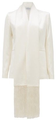Gabriela Hearst Hera Fringed-shawl Silk-satin Jacket - Ivory