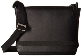 Moleskine Classic Leather Slim Messenger Bag (Black) Handbags