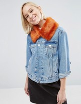 Asos Faux Fur Collar in Bright Orange