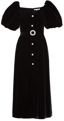 Borgo de Nor Hazel Puff-sleeve Crystal-embellished Velvet Dress - Black