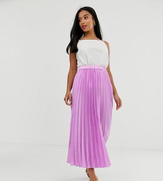Asos DESIGN Petite satin pleated column midi skirt-Pink
