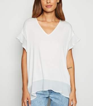 New Look Chiffon Trim V Neck T-Shirt