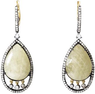 Generic Gemstones 18K & Stainless Steel 32.25 Ct. Tw. Diamond & Sapphire Earrings