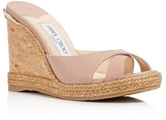 Jimmy Choo Women's Almer Leather & Braid Trim Platform Wedge Slide Sandals