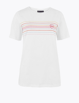Marks and Spencer Pure Cotton Love Straight Fit T-Shirt