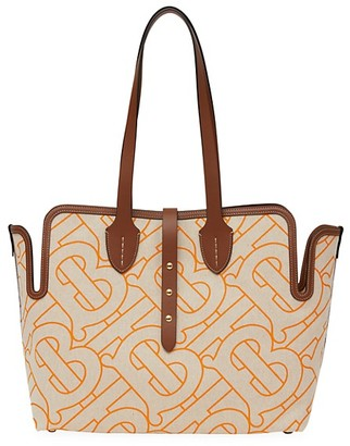 Burberry Medium Soft Belt Leather-Trimmed Canvas Tote