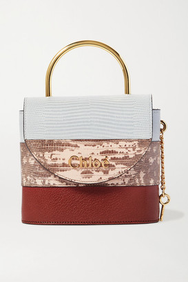 Chloé Aby Lock Small Lizard-effect Leather Tote - Brown