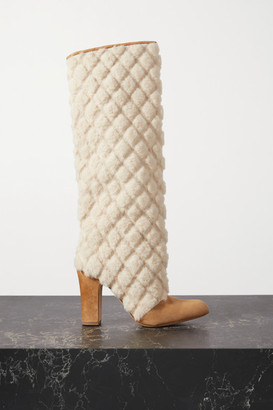 Manolo Blahnik Khomiko Quilted Shearling And Suede Knee Boots - Beige