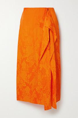 ATTICO Draped Satin-jacquard Midi Skirt - Orange