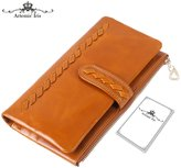 Artemis'Iris Womens Handmade Woven Wax Leather Wallet Luxury Zipper Money Cards Organizer Clutch Travel Long Purse Handbag