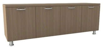 Steelcase Currency Credenza Laminate Color: Chocolate Walnut, Pull Style: Handle Pull-Black