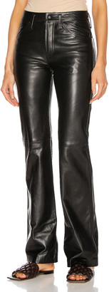 Alberta Ferretti Leather Straight Pant in Black | FWRD