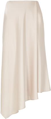 Alice + Olivia Jayla Champagne Satin Midi Skirt