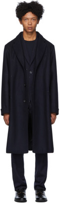 Blue Blue Japan Navy Wool Oversized Double Melton Coat