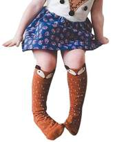 Tenworld 1-3 Years Toddlers Kids Girls Fox Pattern Knee High Socks
