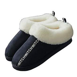 ZKHOECR Slipper Boots for Women Indoor Outdoor Fuzzy Christmas House Anti-Skidding Ladies Bedroom Winter Fluffy Slippers Soft Comfy Sherpa Fur Bootie Color Blocking Shoes Size 7-8.5/6-6.5