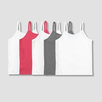 Hanes Girs' 5pk Camisoes - White/Gray/Pink