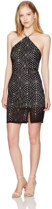 My Michelle Women's Strappy Halter Neck Crochet Lace Dress