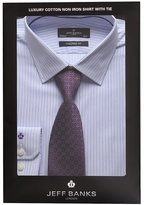 Jeff Banks Light Blue Striped Tailored Fit Shirt And Purple Tie Set