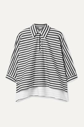 Rosetta Getty Striped Cotton-poplin Top - Black