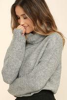 Olivaceous Favorite Dream Heather Grey Turtleneck Sweater
