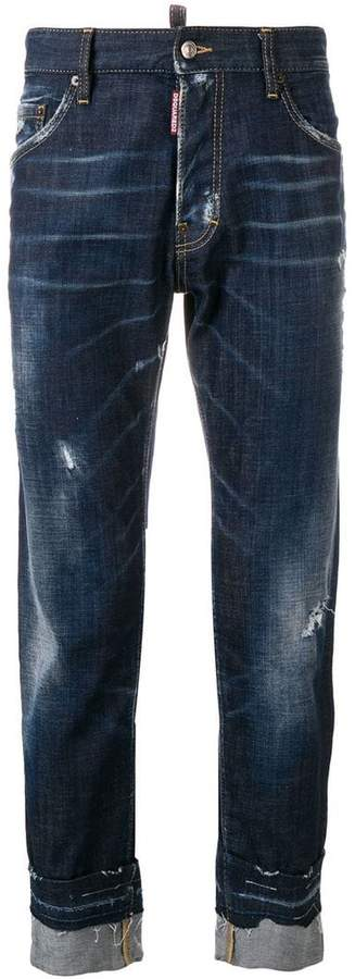DSQUARED2 distressed rolled-up jeans