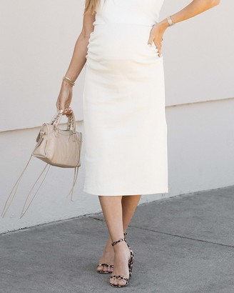 The Drop Women's Whisper White Fitted Midi Skirt by @sivanayla XXS