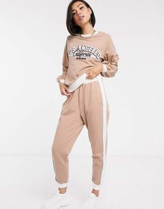 Asos Design DESIGN tracksuit LA print sweatshirt / jogger-Stone