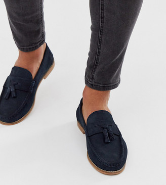 ASOS DESIGN Wide Fit tassel loafers in navy suede with natural sole