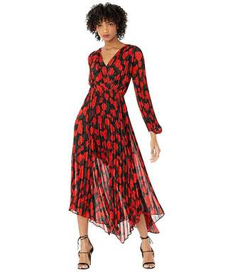The Kooples Dark Floral Long Dress (Black/Red) Women's Clothing